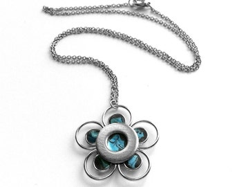 Dark Blue Flower Necklace, Gift for Sister, Boho Jewelry, Unique Flower Pendant, Industrial