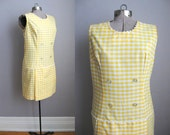 1960s Vintage Dress Scooter Dress 60s Romper Yellow Gingham / Medium