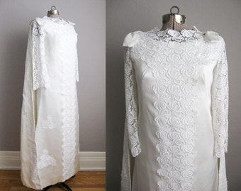 1960s Vintage Wedding Gown Watteau Cape / White Satin Lace Applique Bell Sleeves / Small