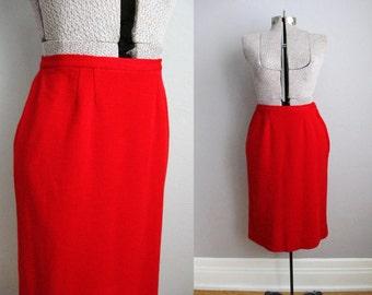 1950s Skirt Red Knit 50s Pencil Skirt Union Made / Medium