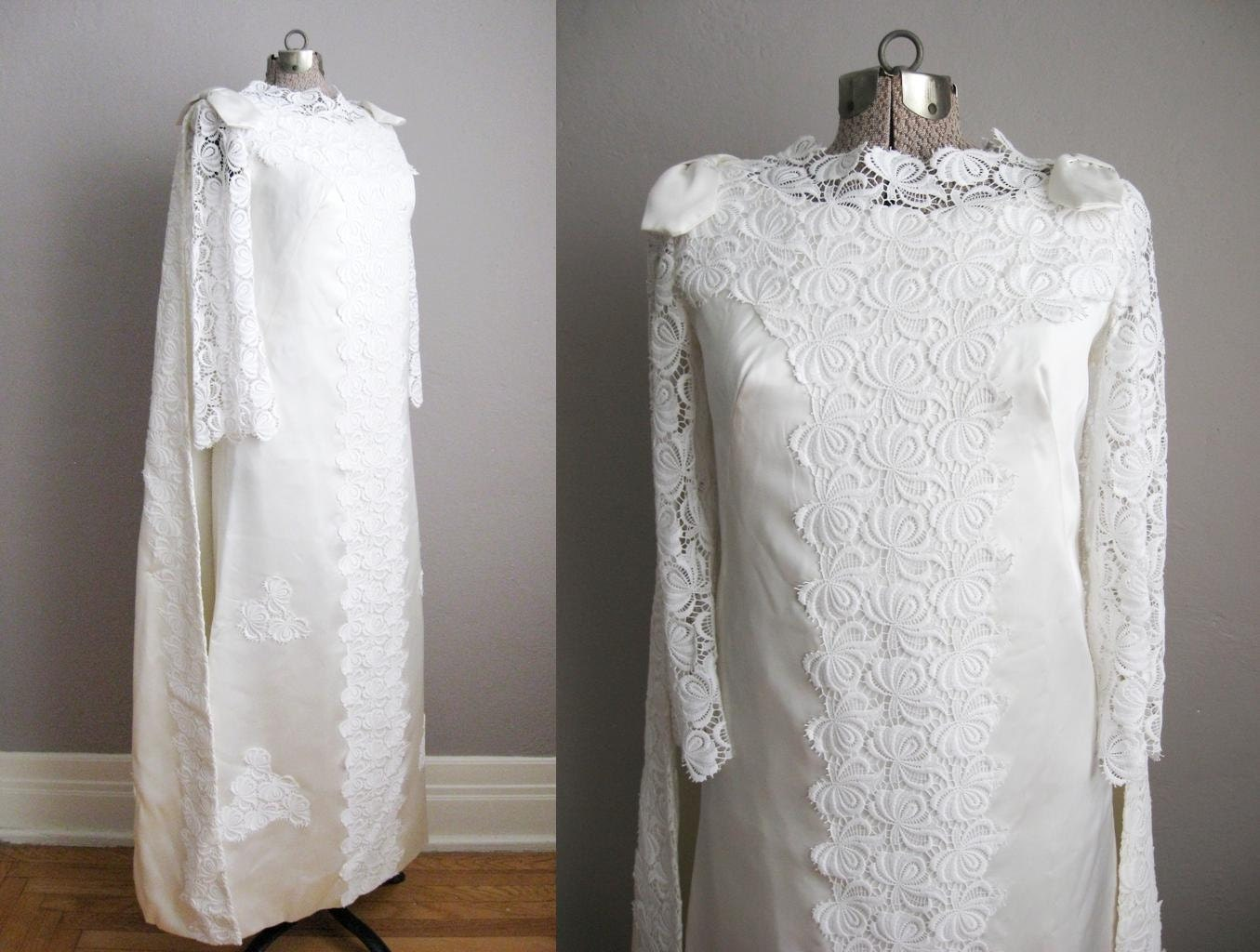 Wedding Gown With Cape: 1960s Vintage Wedding Gown Watteau Cape / White Satin Lace