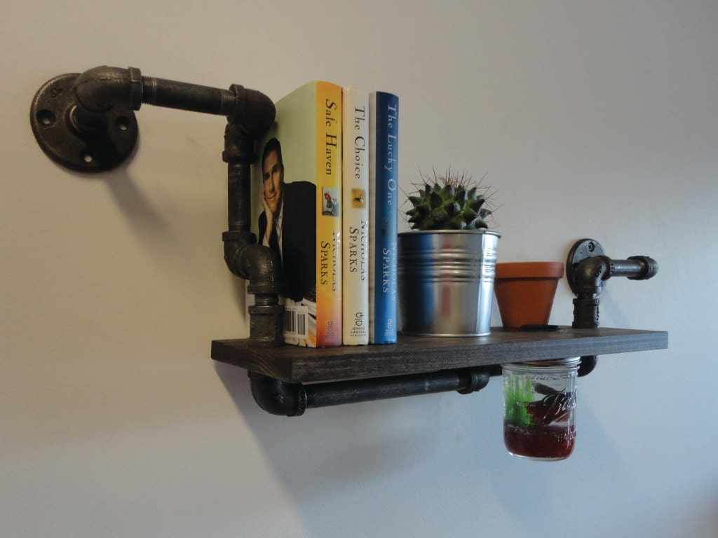 Industrial Black Pipe Iron & Wood Shelf with Mason by Mobeedesigns