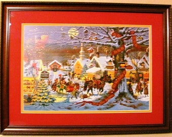 Vintage Charles Wysocki's Small Town Christmas Framed and Double Matted Signed and Numbered