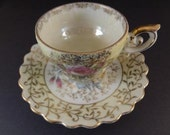 Rare Collectible Japanese Bone China Teacup and Saucer Circa 1940s
