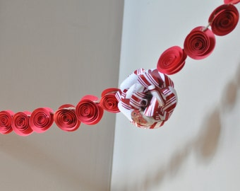 Red Christmas Garland Paper Flower Garland