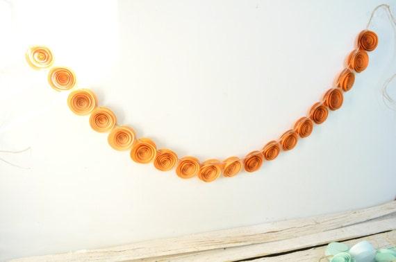 Ombre Orange Garland, Orange Paper flower garland- 3.5 feet