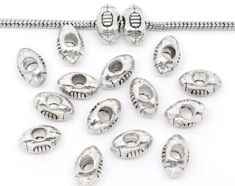 10 Pieces Antique Silver Football European Charm Beads  14x9mm