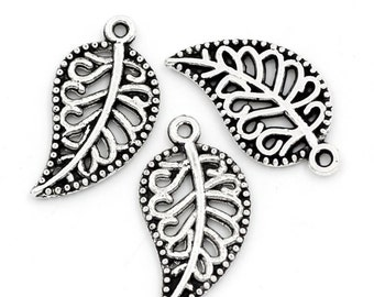 10 Pieces Antique Silver Hollow Leaf Charms