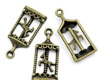 10 Pieces Antique Bronze Carousel Charms