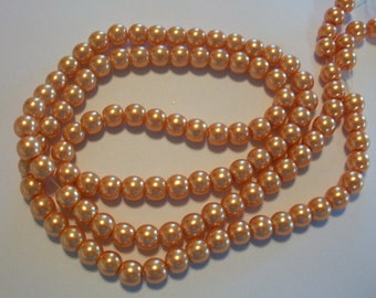 Orange Glass Pearl Round Beads 8mm, 1 strand of 105-110 beads