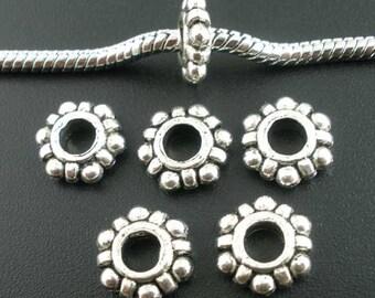 10 pieces Antique Silver Daisy European Spacer Beads