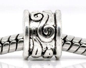 5 pieces Antique Silver Swirl Pattern European Spacer Beads