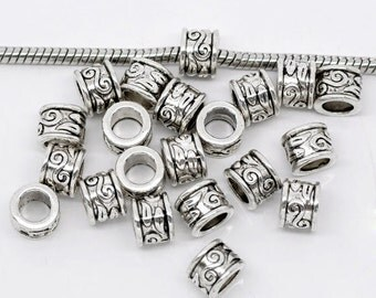 50 pieces Antique Silver Swirl Pattern European Spacer Beads