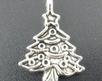 10 Pieces Silver Christmas Tree Charms