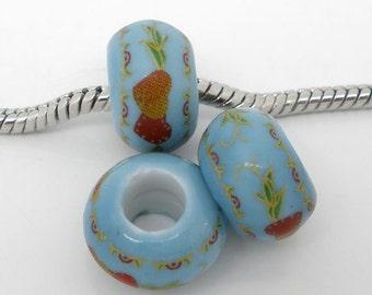 4 Pieces Blue Heart Pattern Ceramic European Charm Beads