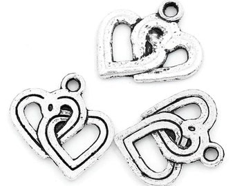10 Pieces Antique Silver Entwined Heart Charms