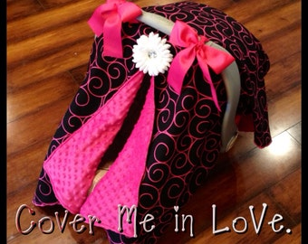 Car seat canopy  black and  hot pink swirl and hot pink minky