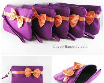 SUPER SALE - Set of 5 Eggplant Purple with Little Orange Bow Clutches - Bridal Clutch, Bridesmaid Wristlet,Wedding Clutch - Made To Order