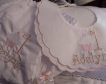 Baby Girl  Double Scalloped Cotton Heriloom Bib and Diaper Cover for First Birthday