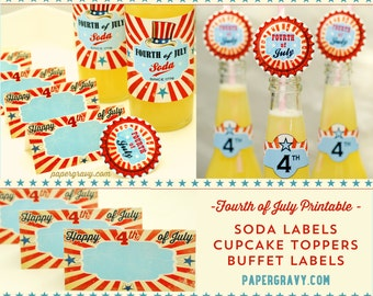 PRINTABLE Set 4th of JULY BBQ Party decoration kit