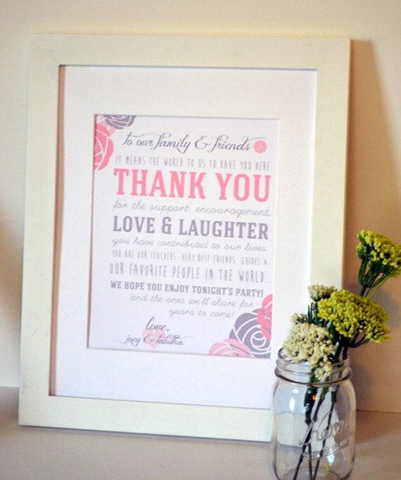Thank You Sign For Wedding Gift Table : ... sign To our family and friends Personalized thank you sign Gift table