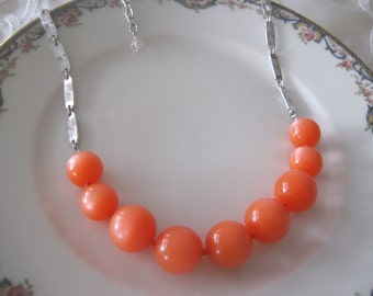 Vintage Italian Moonglow Orange Creamsicle Necklace