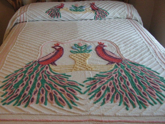 Items similar to vintage chenille peacock bedspread on etsy - Peacock bedspreads ...