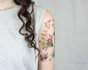 Flower Gift for Wife - Vintage Floral temporary tattoos - 7 Floral Temporary Tattoos - Boho Gift for Girlfriend -  Boho Gift for Wife