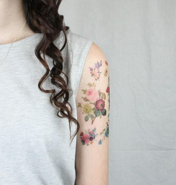 Temporary Tattoo - 7 Vintage Floral temporary tattoos - Floral Temporary Tattoo - Vintage Flower Temporary Tattoo -  Fake Tattoo Vintage Flo