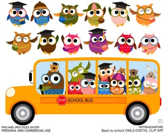 Back to school owl clip art for Personal and Commercial use - INSTANT DOWNLOAD
