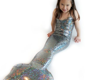 Silver One-Piece Mermaid Tail For Girls