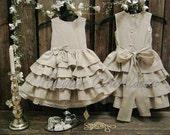 Country flower girl dress. Linen flower girl dress. Natural linen dress Rustic wedding Ecru flower girl ruffle dress Special occasion