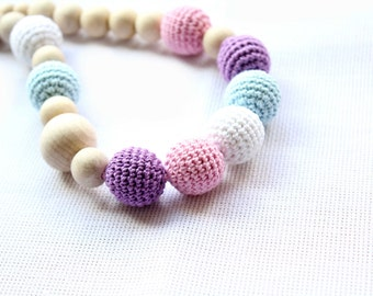 Crochet Nursing Necklace in Pastel Colors- Pastel Breastfeeding Necklace - Crochet Necklace for mom and child
