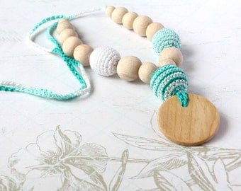 Crochet Nursing Necklace with Wooden Pendant-Crochet Wooden Teether, Breastfeeding-Teething necklace with crochet beads