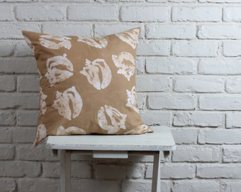 "Beach Decor: Hand stamped hand dyed tan conch shell pillow cover 20""x20"" made to order"