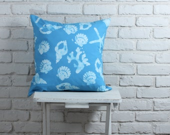 Nautical Pillow Cover: hand stamped hand dyed blue sea shell pillow cover, nautical pillow  made to order