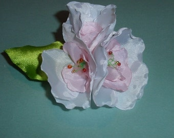 Silk flowers are white and pink, brooch, boutonniere, barrette hair accessory for men and women, girls, wedding decoration