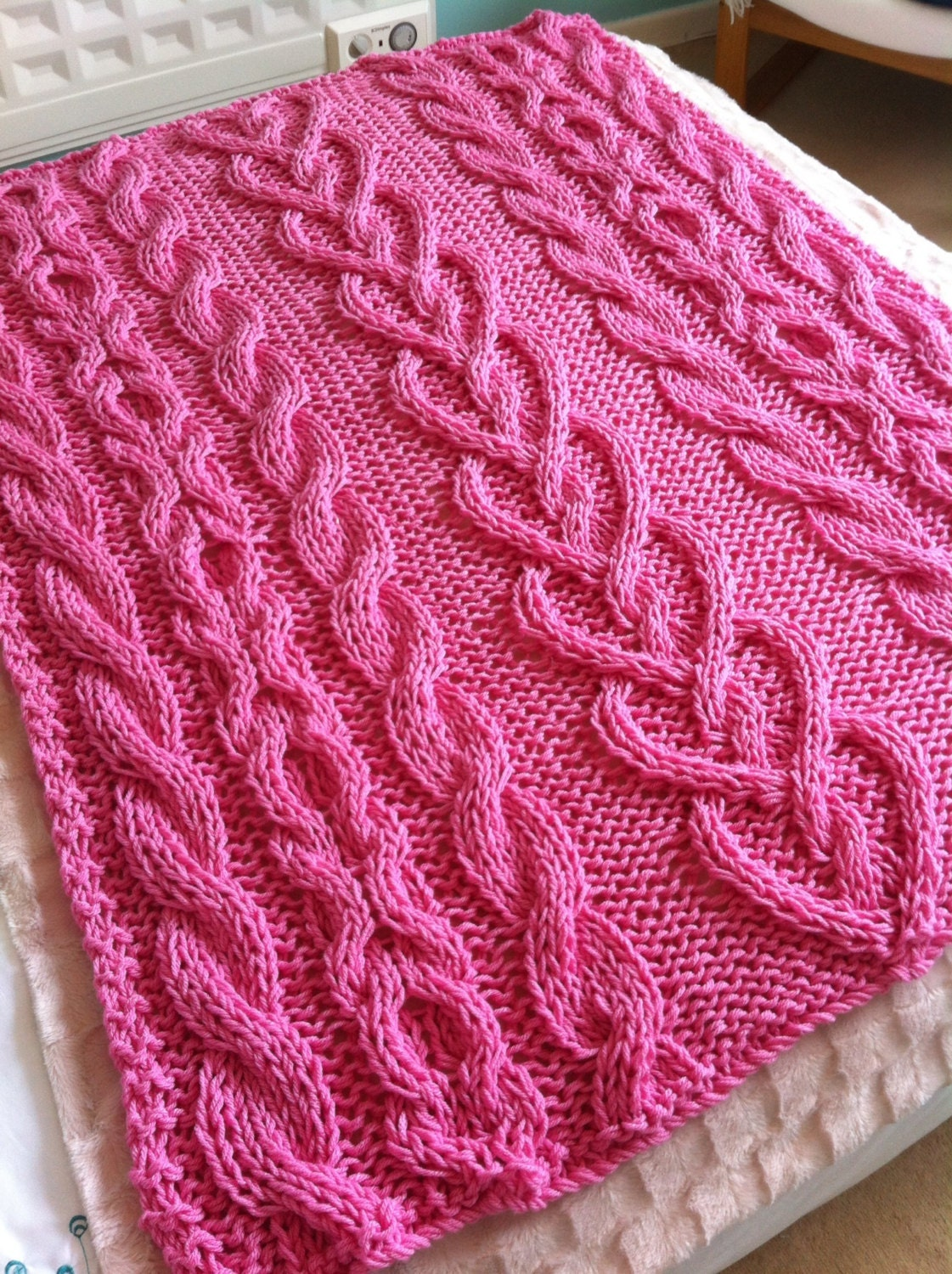 Chunky Cable and Hearts hand knit blanket / throw Pretty
