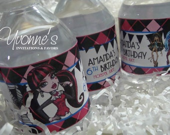 Monster High Water Bottle Wrappers - For Child Girl Birthday Party