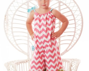 Pillowcase Romper...Jumpsuit...Chevron...Pink...Infant...Toddler...Girl