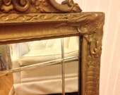 Hollywood Regency Antique Cut Glass Gold Mirror Paris Apartment Shabby Chic at Ageless Alchemy
