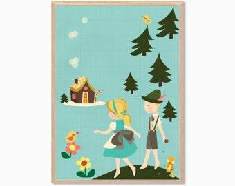 FAIRY TALE | Hansel and Gretel Poster : Modern Illustration Children Retro Art Wall Decor Print