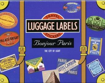 TRAVEL STICKERS, Paris Luggage Stickers, Luggage Stickers, Paris Stickers, Vintage Travel Stickers, Luggage Labels, Vintage Luggage Labels