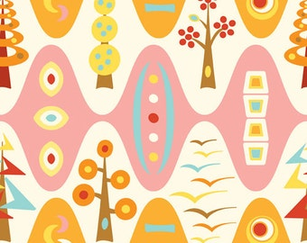 Flock by Thomas Knauer for Andover - Trees  - -SUPER SPECIAL PRICE on yard cuts - orange and pink print