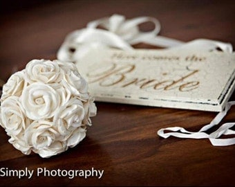 Just Married AND Here Comes The Bride Wedding Sign Vintage Style Double Sided and Laser Engraved.