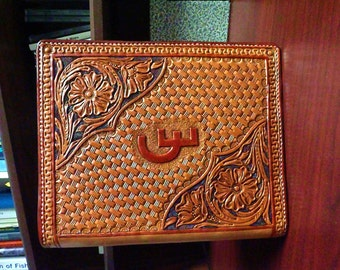 Hand tooled leather Appointment Book, Three Ring Binder, or Calendar Cover