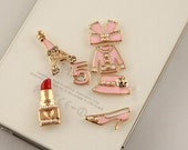 7PCS/Set Fashion crystal Clothes Lipstick Tower Flatback Alloy jewelry  KIT (Black pink white Optional)