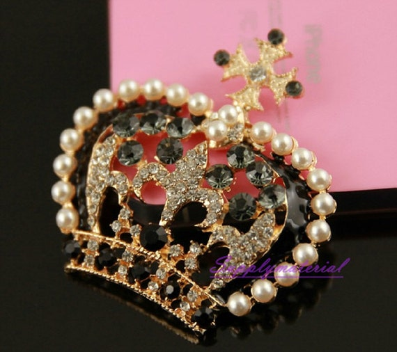 1pcs Golden Beautiful crystal pearl - Crown Alloy jewelry Accessories materials supplies
