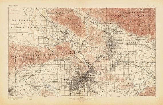 Antique Map Of Los Angeles 1897  USGS Topographic Map