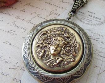 Art Nouveau Cameo Locket Necklace, Vintage Inspired Art Nouveau Women Antique Brass Large Locket Necklace